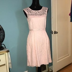 White House Black Market pink lace belted dress